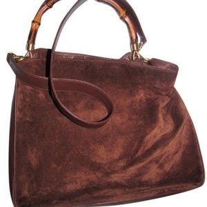 8d10f35a707 Gucci · Suede Leather Bamboo Handle Removabe Trap Hobo Bag